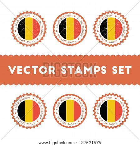 I Love Belgium Vector Stamps Set. Retro Patriotic Country Flag Badges. National Flags Vintage Round