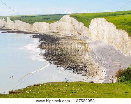 Seven Sisters chalk cliffs Seven Sisters National Park. Eastbourne East Sussex England