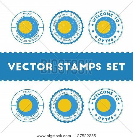 Palauan Flag Rubber Stamps Set. National Flags Grunge Stamps. Country Round Badges Collection.
