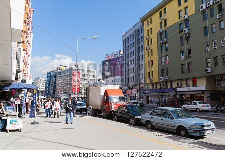 Modern Izmir City Street View, Walking People, Cars
