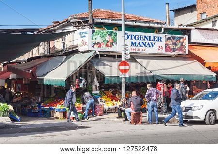 Turkish Bazaar Street View With Sellers And Buyers