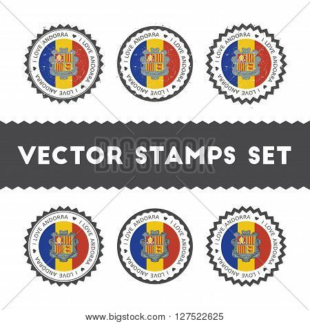 I Love Andorra Vector Stamps Set. Retro Patriotic Country Flag Badges. National Flags Vintage Round