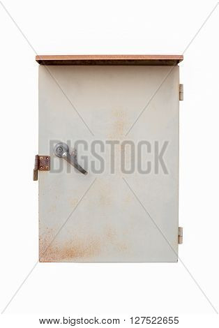 old outdoor electric box panel isolated on white background with clipping path