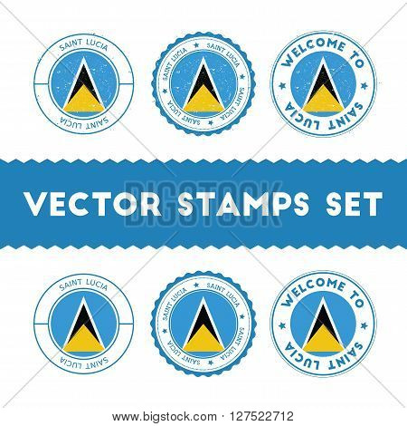 Saint Lucian Flag Rubber Stamps Set. National Flags Grunge Stamps. Country Round Badges Collection.