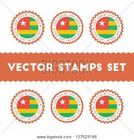 I Love Togo Vector Stamps Set. Retro Patriotic Country Flag Badges. National Flags Vintage Round Sig