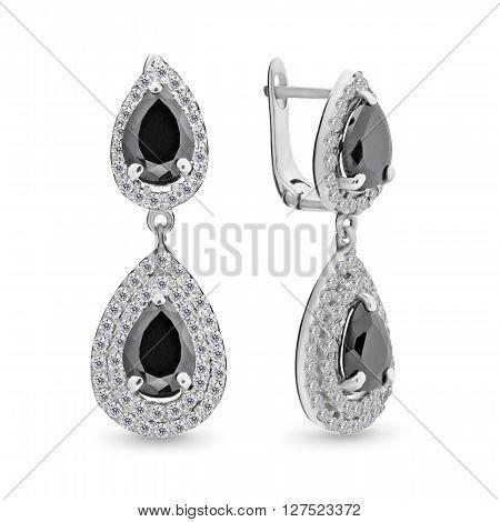 A Pair Of Beautiful Quartz Diamond Earrings