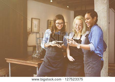 Friends Talking Coffee Shop Worker Concept