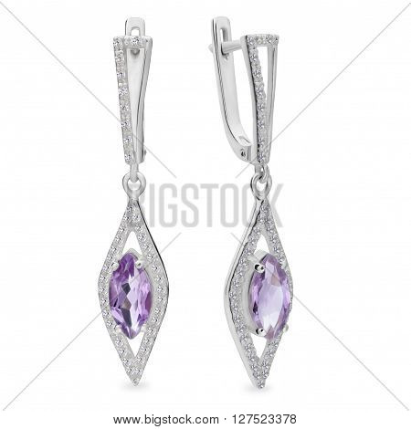 A Pair Of Silver Earrings With Cat Eye Shaped Gemstone
