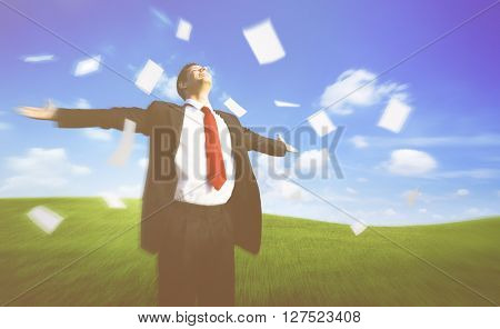 Businessman Happiness Cheerful Flying Paper Relaxation Concept