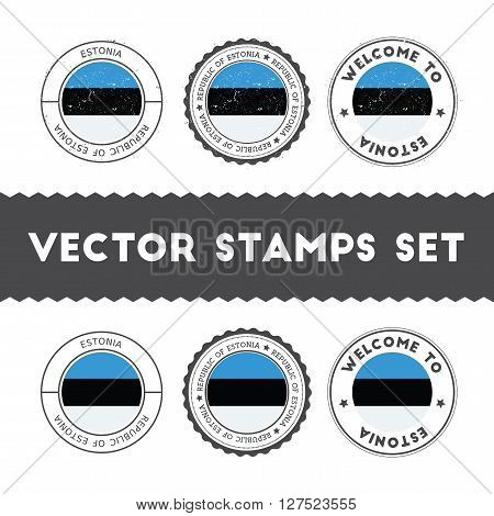 Estonian Flag Rubber Stamps Set. National Flags Grunge Stamps. Country Round Badges Collection.