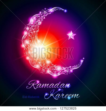 Glowing ornate crescent with star and bright flare. Illustration in purple red and blue shades. Greeting card of holy Muslim month Ramadan