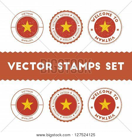 Vietnamese Flag Rubber Stamps Set. National Flags Grunge Stamps. Country Round Badges Collection.