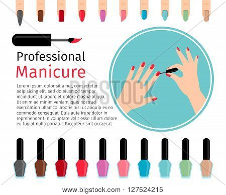 Nail polish and different colors nails icons and text. Vector illustration