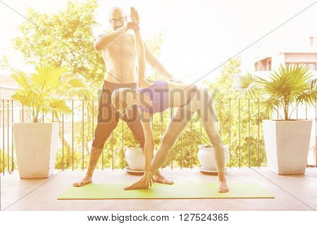 Woman Man Yoga Practice Pose Training Concept