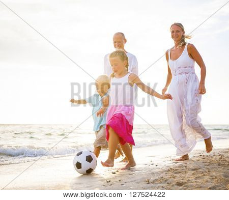 Family Playing Beach Concept