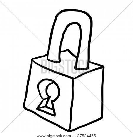 black and white lock cartoon illustration