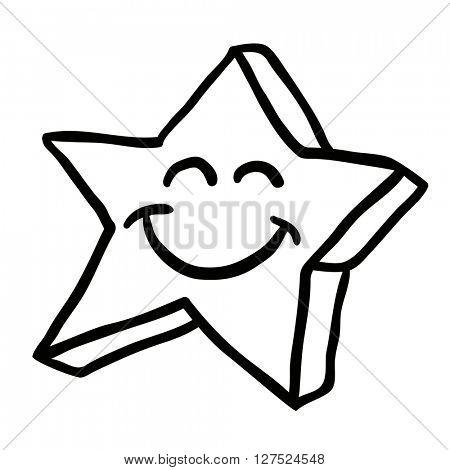 black and white star cartoon illustration