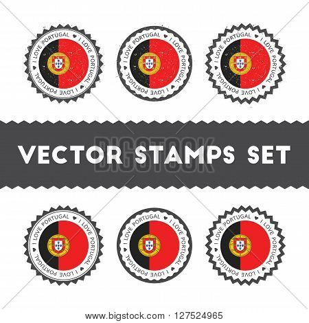 I Love Portugal Vector Stamps Set. Retro Patriotic Country Flag Badges. National Flags Vintage Round