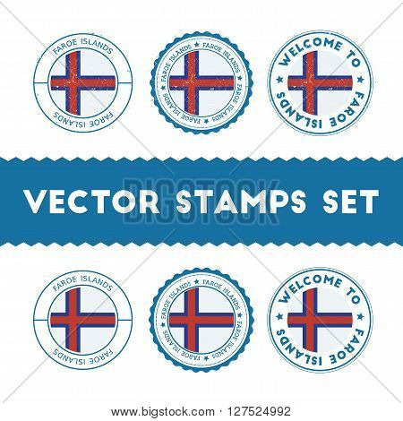Faroese Flag Rubber Stamps Set. National Flags Grunge Stamps. Country Round Badges Collection.