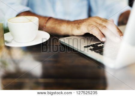 Senior Man Working Coffee Shop Relaxation Concept