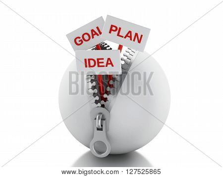 3d renderer image. White ball with zipper open and posters with business concept. Isolated white background.