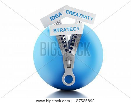 3d renderer image. Blue ball with zipper open and posters with business concept. Isolated white background.