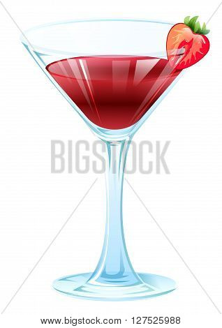 Alcohol Strawberry Cocktail. Wine glass with strawberry drink. Isolated on white vector illustration