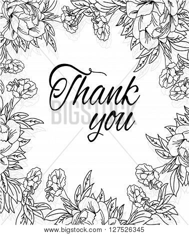 monochrome linear background with floral print peonies and carnations and the words thank you on white background, monochrome vector illustration
