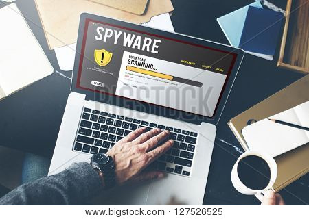 Spyware Protection Software Laptop Concept