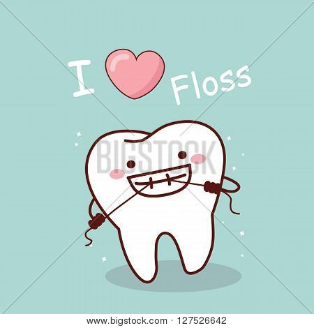 cartoon tooth with floss i love floss great for dental care concept