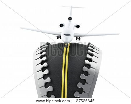 3d renderer image. Zipper open with road inside and airplane landing. Travel concept. Isolated white background.