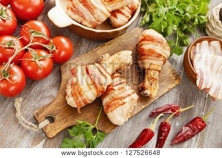 Chicken Leg Wrapped In Bacon