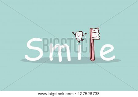 cartoon tooth smile with toothbrush great for dental care concept