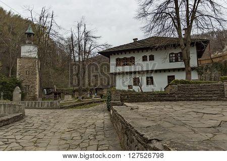 Old traditional houses and part of bridge in Ether, Gabrovo, Bulgaria