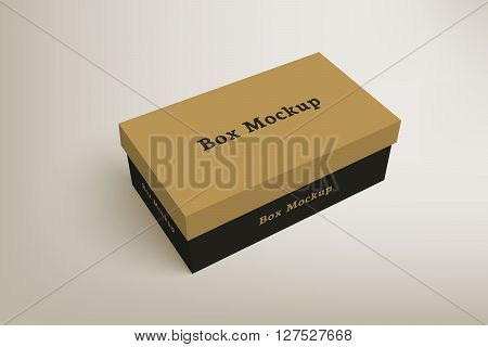 Shoes product packaging mock-up box. Illustration isolated on gradient background. Mock up template scene 1.