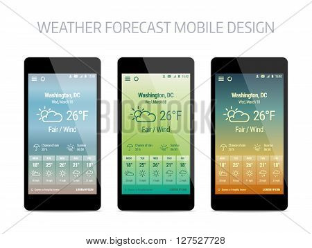 Template of weather forcast mobile aplication. Vector modern design with gradient background.