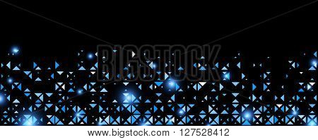 Black abstract background with blue trigons. Vector illustration.