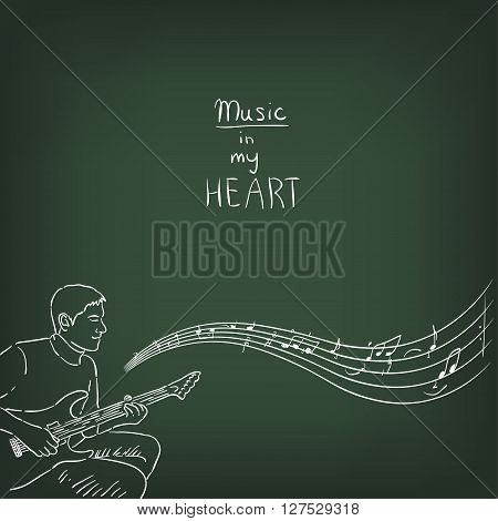 Drawing with chalk on a green chalkboard - male guitarist. Musical illustration. Background for a poster or advertising design.