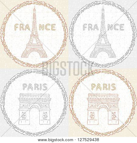 Paris, France vintage pattern. The Eiffel Tower and the the Triumphal arch in retro style.