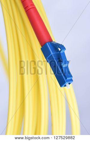 Closeup optic single mode type LC patch cord