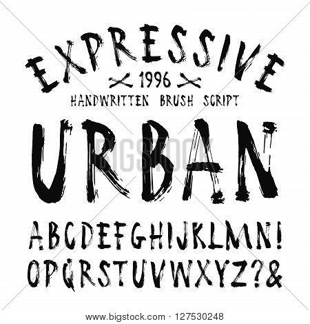 Vector handwritten brush font. Isolated on white background