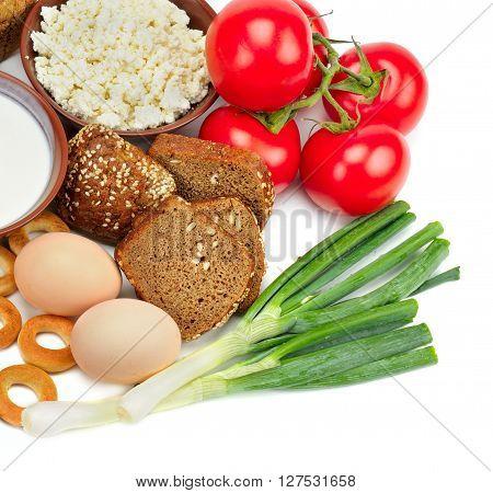 set of useful food isolated on white background
