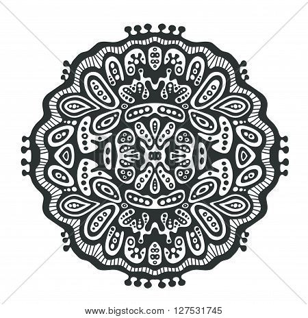 Round decor element black and white. Mandala tatto for coloring and meditation.