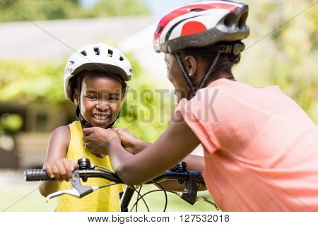 Happy family wearing a helmet at park