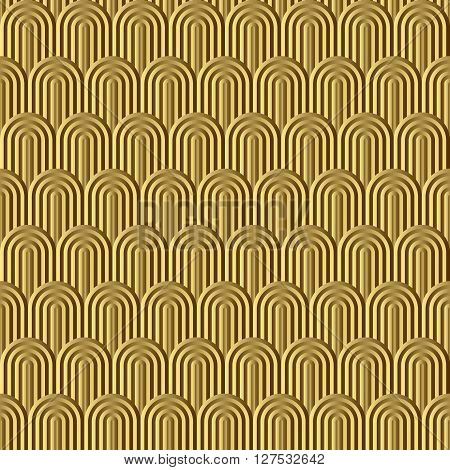 Fish scale golden seamless pattern. Vector background.