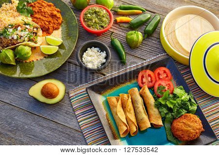 Mexican carnitas tacos with flautas from Mexico food ingredients