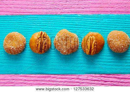 Cajeta caramel Mexican candy sweets with sugar and pecan nuts in a row
