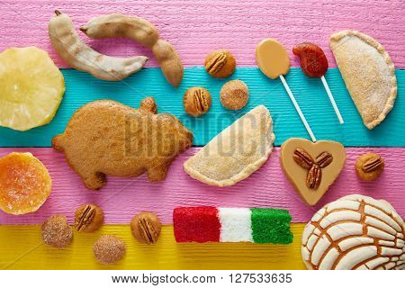 Mexican sweets and pastries cajeta tamarindo coconut flag puerquito