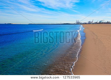 Valencia Malvarrosa beach Las Arenas in Mediterranean sea of Spain