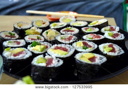 Sushi Rolls Served On A Plate